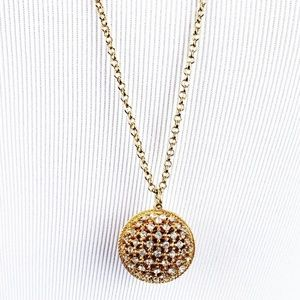 J CREW - Gold and Crystal Ball Pendant Necklace